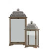 Wood Lantern with Ring Hanger and Pierced Metal Top Set of Two Natural Wood Finish Brown