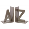 "Wood Alphabet Sculpture ""AZ"" Bookend Assortment of Two Coated Finish Taupe"