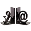 """Wood Alphabet Sculpture """"@&"""" Bookend Assortment of Two Coated Finish Black"""