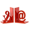 "Wood Alphabet Sculpture ""@&"" Bookend Set of Two Coated Finish Red Orange"