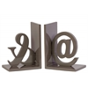 "Wood Alphabet Sculpture ""@&"" Bookend Assortment of Two Coated Finish Taupe"