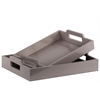 Wood Rectangular Serving Tray with Cutout Handles Set of Two Coated Finish Gray