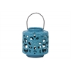 Ceramic Short Round Lantern with Floral Cutout Design and Metal Handle Gloss Finish Steel Blue