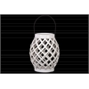 Ceramic Bellied Round Lantern with Diagonal Cutout Design and Metal Handle Gloss Finish White