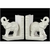 Ceramic Standing Trumpeting Elephant on Base Bookend Assortment of Two Gloss Finish White