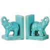 Ceramic Standing Trumpeting Elephant on Base Bookend Assortment of Two Gloss Finish Blue