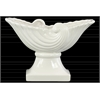 Ceramic Partial Seashell Bowl with Wave Design on Pedestal Gloss Finish White