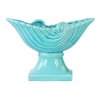 Ceramic Partial Seashell Bowl with Wave Design on Pedestal Gloss Finish Blue