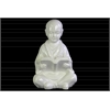 Ceramic Meditating Buddhist Acolyte Figurine Studying a Reading Material Gloss Finish White