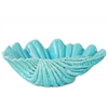 Ceramic Open Valve Clam Seashell Bowl Sculpture Gloss Finish Blue