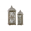 Wood Square Lantern with Silver Pierced Metal Top, Ring Handle, and Criss Cross Design Body Set of Two Natural Wood Finish Brown