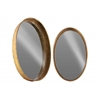 Metal Oval Wall Mirror Set of Two Tarnished Finish Antique Rose Gold