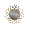 Metal Round Wall Mirror with Sunburst Design Frame Tarnished Finish Antique Rose Gold
