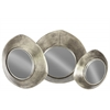 Metal Tray with Mirror Surface and Concave Reuleaux Triangle Sides Set of Three Tarnished Finish Antique Silver