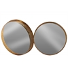 Metal Round Wall Mirror Set of Two Tarnished Finish Antique Rose Gold