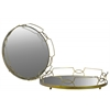 Metal Round Tray with Mirror Surface and Cutout Lattice Sides Set of Two Coated Finish Gold