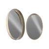 Metal Oval Wall Mirror Set of Two Tarnished Finish Antique Foil Silver