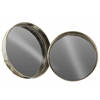 Metal Round Wall Mirror Set of Two Tarnished Finish Antique Foil Silver