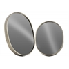 Metal Oval Wall Mirror Set of Two Tarnished Finish Antique Silver