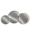 Metal Round Wall Mirror Set of Three Tarnished Finish Antique Silver