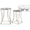 Metal Octagonal Nesting Accent Table with Mirror Top, Tapered Body and Square Base Set of Two Tarnished Finish Antique Silver