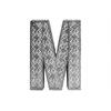 "Metal Alphabet Wall Decor Letter ""M"" with Pierced Metal Design LG Distressed Metallic Finish Silver"