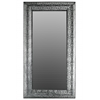 Metal Rectangular Wall Mirror with Pierced Metal Frame Electroplated Finish Silver
