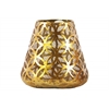 Metal Round Candle Holder with Diamond in Circle Design Body and Bellied Bottom LG Metallic Finish Gold
