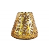 Metal Round Candle Holder with Diamond in Circle Design Body and Bellied Bottom SM Metallic Finish Gold