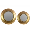 Metal Round Convex Wall Mirror with Dimpled Design Frame Set of Two Metallic Finish Gold