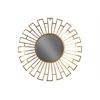 Metal Round Wall Mirror with Sunburst Design Frame Metallic Finish Gold
