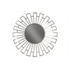 Metal Round Wall Mirror with Sunburst Design Frame Metallic Finish Silver