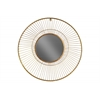 Metal Round Wall Mirror with Wheel Design Frame Metalic Finish Gold