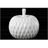Ceramic Apple Figurine with Leaf on Stem and Embedded Diamond Design LG Gloss Finish White