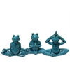 Ceramic Meditating Frog Figurine in Assorted Yoga Position Assortment of Three Distressed Gloss Finish Blue
