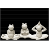 Ceramic Meditating Frog Figurine in Assorted Yoga Position Assortment of Three Distressed Gloss Finish White
