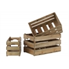Wood Rectangular Nesting Crate with Cutout Handles Set of Three LG Natural Wood Finish Brown
