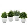 Polyurethane Boxwood Topiary Assortment of Four Natural Finish Green