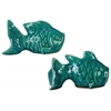 Ceramic Koi Fish Figurine Assortment of Two Washed Gloss Finish Turquoise