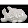 Ceramic Fish Figurine with Embossed Spiral Design Gloss Finish White