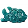 Ceramic Fish Figurine with Embossed Swirl Design Washed Gloss Finish Turquoise