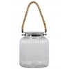Glass Round Lantern with Ribbed Design Body, Collar Neck, and Rope Handle LG Clear Glass Finish Achromatic