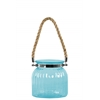 Glass Round Lantern with Ribbed Design Body, Collar Neck, and Rope Handle SM Colored Glass Finish Blue