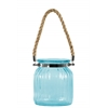 Glass Round Lantern with Ribbed Design Body, Collar Neck, and Rope Handle MD Colored Glass Finish Blue