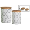 Ceramic Cylindrical 36 oz. and 28 oz. Canister with Printed Hexagon Lattice Design Set of Two Coated Finish White