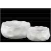 Ceramic Irregularly Round Pot Set of Two Pimpled Finish Gloss Finish White