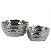 Ceramic Irregularly Round Pot Set of Two Wrinkled Finish Polished Chrome Finish Silver