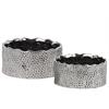 Ceramic Irregularly Round Pot Set of Two Pimpled Finish Polished Chrome Finish Silver