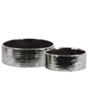 Ceramic Round Wide Pot Set of Two Combed Finish Polished Chrome Finish Silver