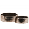 Ceramic Round Wide Pot Set of Two Combed Finish Polished Chrome Finish Bronze